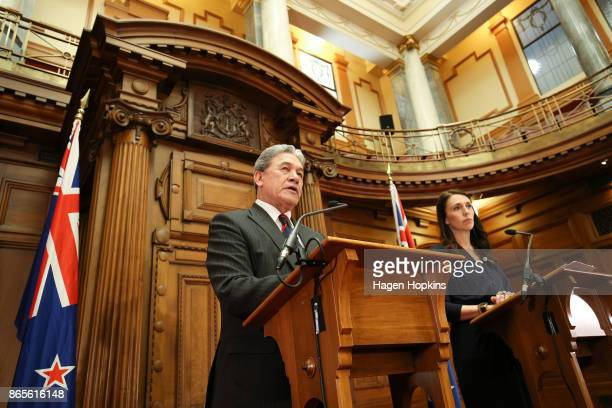 Prime Ministerdesignate Jacinda Ardern and NZ First leader Winston Peters speak to media during a coalition agreement signing at Parliament on...