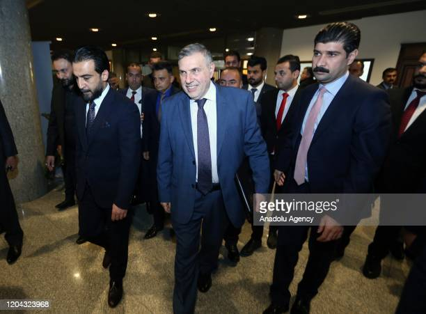 Prime Minister-designate Mohammed Tawfiq Allawi tasked to form the new government arrives at the Iraqi parliament building to attend a session for...