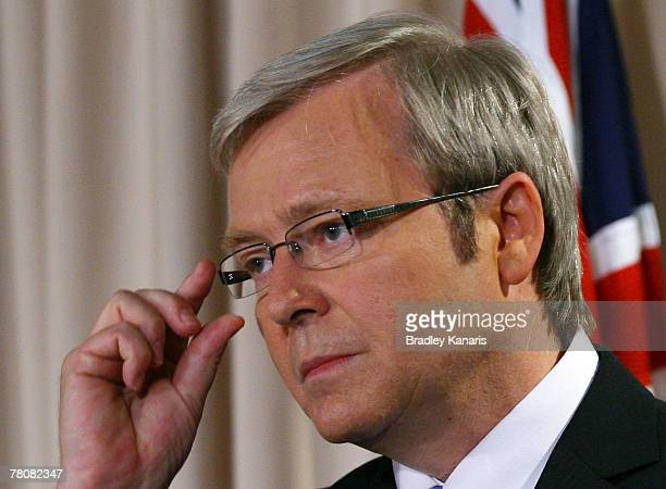 Prime Minister-elect Kevin Rudd addresses the media at a press conference following the Labor Party's victory in yesterday's Australian Federal...