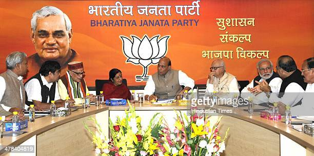 Prime Ministerial candidate Narendra Modi senior leaders Lal Krishna Advani Murli Manhoher Joshi Nitin Gadkari BJP President Rajnath Singh Arun...