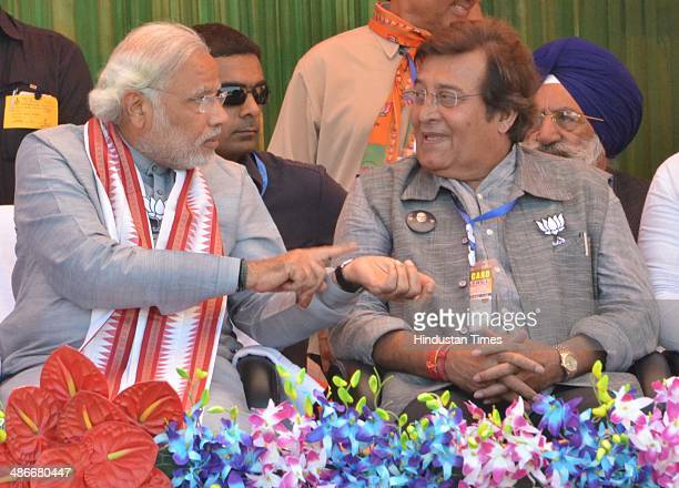 Prime Ministerial Candidate Narendra Modi with party candidate from Gurdaspur Vinod Khanna during an election rally on April 25 2014 in Pathankot...