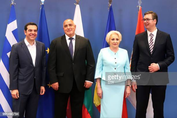 Prime Ministers Alexis Tsipras of Greece Boyko Borissov of Bulgaria Viorica Dancila of Romania and the President of Serbia Aleksandar Vucic pose...