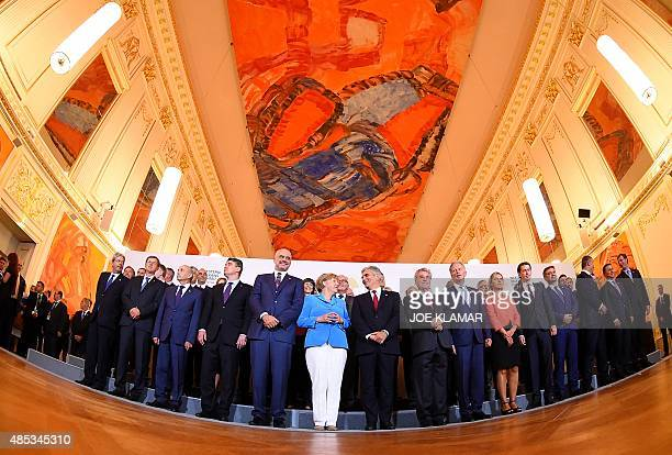 Prime Ministers and ministers of Western Balkan countries and EU pose for family photo during the Western Balkans Summit at the Hofburg palace in...