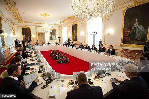 EU Prime Ministers and Presidents attend a round table during the European Union Summit of 27 Heads of State or Government in Bratislava on September...