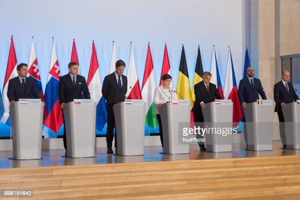 Luxembourg Xavier Bettel, Slovakia Robert Fico, Netherlands Mark Rutte, Poland Beata Szydlo, Hungary Viktor Orban, Belgium Charles Michel and Czech...