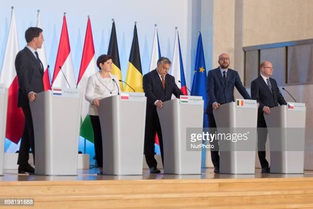 Netherlands Mark Rutte, Poland Beata Szydlo, Hungary Viktor Orban, Belgium Charles Michel and Czech Republic Bohuslav Sobotka during the Visegrad...