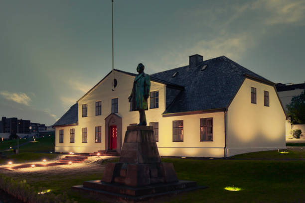 Prime Minister's Office in Reykjavik during the midnight sun in summer