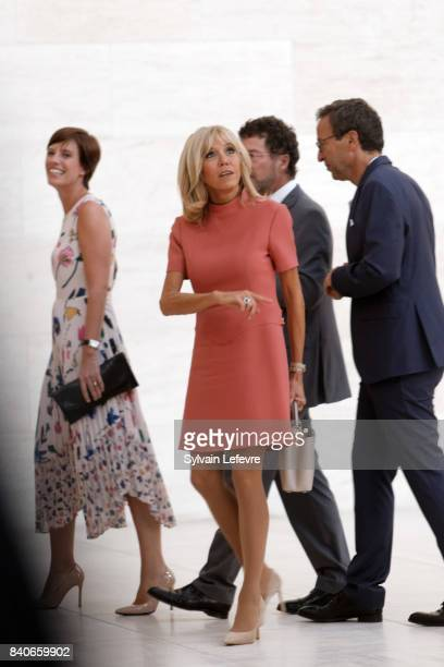 Prime Minister's partner Amelie Derbaudrenghien Brigitte MacronTrogneux France's first lady visit Luxembourg's Art Museum during a one day state...