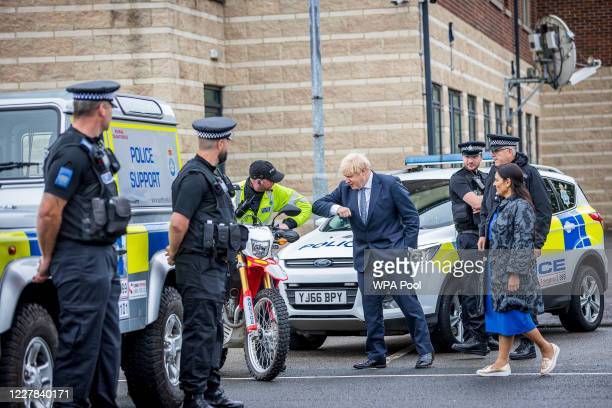 Prime Minster Boris Johnson and Home Secretary Priti Patel visit The North Yorkshire police and are introduced to recently graduated Police Officers...