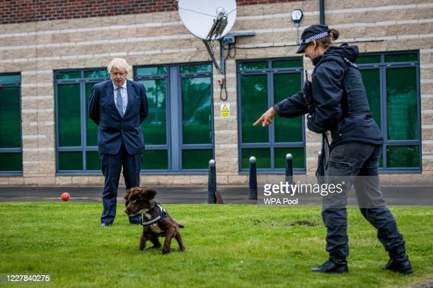 Prime Minster Boris Johnson and Home Secretary Priti Patel visit The police and are introduced to recently graduated Police Officers on July 30 2020...