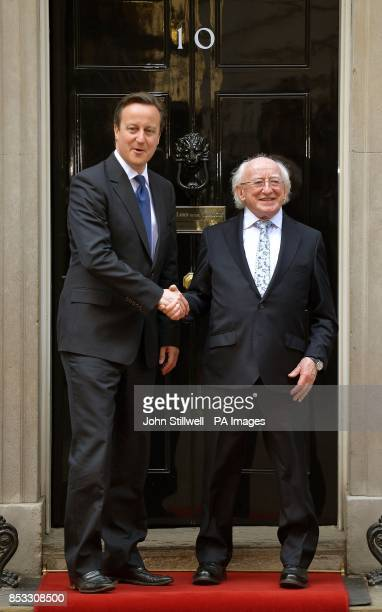 Prime Minster David Cameron welcomes the President of the Republic of Ireland Michael D Higgins to Downing Street during his state visit to the UK in...