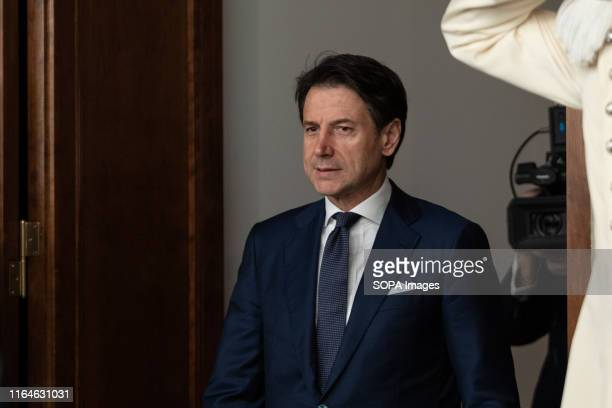 Prime Minster Giuseppe Conte arrives at the press conference after the approval of the new government by the Italian President Sergio Mattarella in...