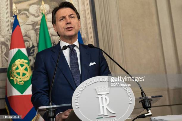 Prime Minster Giuseppe Conte speaks to the media after the approval of the new government by the Italian President Sergio Mattarella in Rome