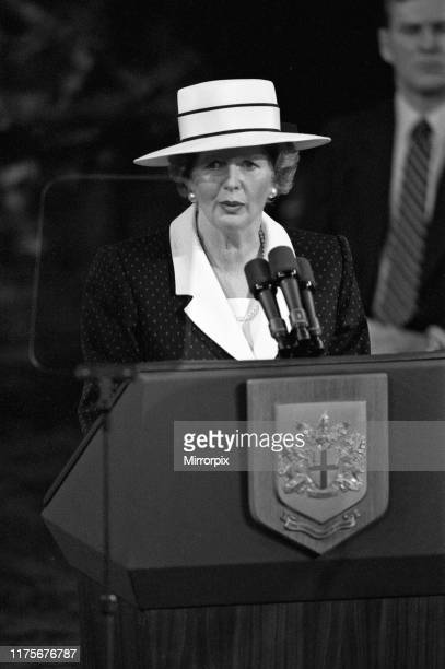 Prime Minster Margaret Thatcher delivers a speech at Guildhall London 3rd June 1988