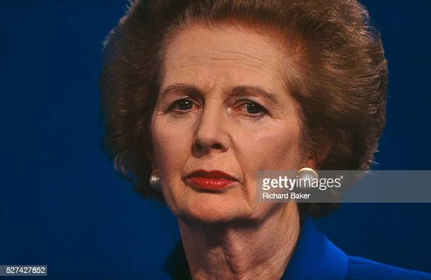 Prime Minster Margaret Thatcher is seen giving a party speech at the 1990 Conservative Party Conference in Blackpool, Lancashire, a full year after...
