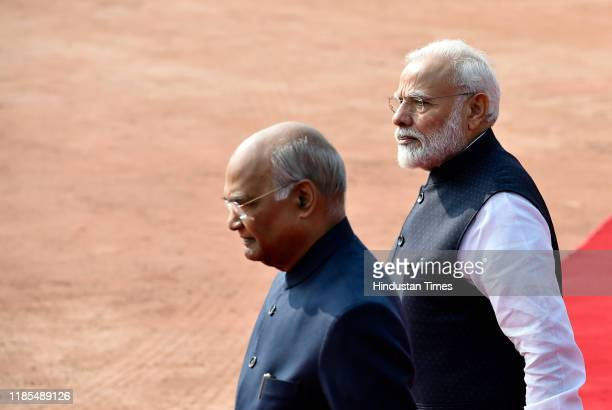 Prime Minster Narendra Modi and President Ramnath Kovind during the ceremonial reception of Sri Lankan President Gotabaya Rajapaksa, at Rashtrapati...