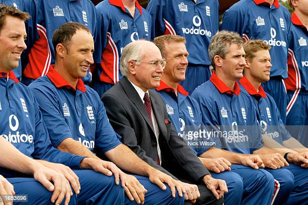 Prime Minster of Australia John Howard has his picture taken with the England Team before the One Day Tour match between the Prime Minsters XI and...