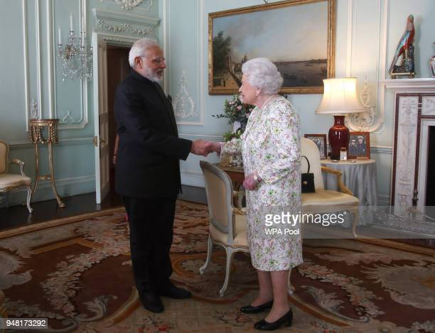 Prime Minster of India Narendra Modi is greeted by Queen Elizabeth II during a private audience at Buckingham Palace on April 16 2018 in London...