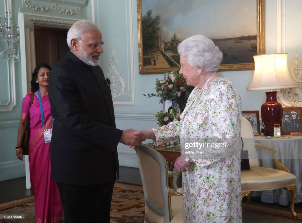 Prime Minster of India Narendra Modi is greeted by Queen Elizabeth II during a private audience at Buckingham Palace on April 16, 2018 in London, England.