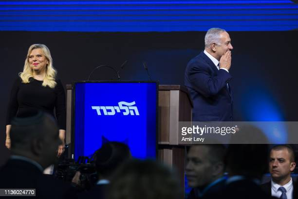 Prime Minster of Israel, Benjamin Netanyahu and his wife, Sara during his after vote speech on April 10, 2019 in Tel Aviv, Israel. Prime Minister...