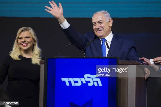 Prime Minster of Israel, Benjamin Netanyahu and his wife, Sara greet supporters during his after vote speech on April 10, 2019 in Tel Aviv, Israel....