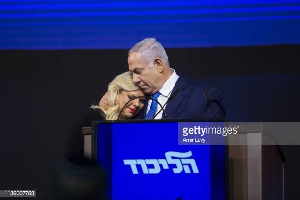Prime Minster of Israel Benjamin Netanyahu hugs his wife, Sara during his after vote speech on April 10, 2019 in Tel Aviv, Israel. Prime Minister...