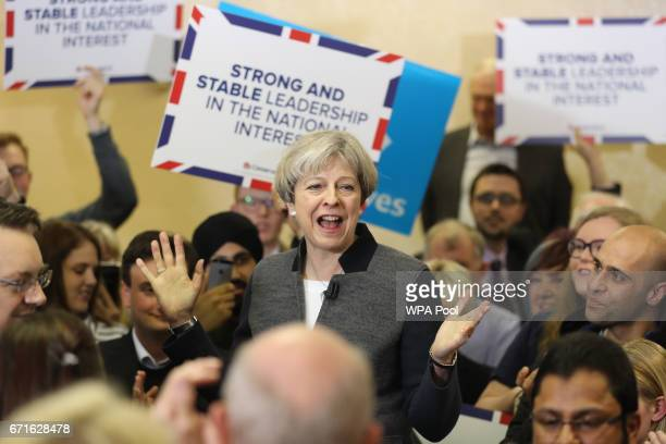 Prime Minster Theresa May delivers a stump speech at Netherton Conservative Club during the Conservative Party's election campaign on April 22 2017...