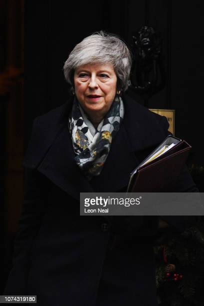 Prime Minster Theresa May leaves 10 Downing Street on December 17 2018 in London England The UK political week picked up where it left off with Prime...