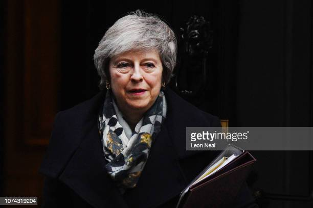 Prime Minster Theresa May leaves 10 Downing Street on December 17, 2018 in London, England. The UK political week picked up where it left off, with...