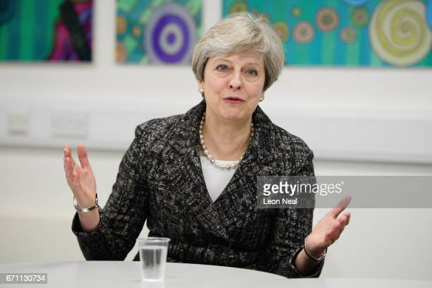 Prime Minster Theresa May talks to students and firsttime voters at Cox Green School on April 21 2017 in Maidenhead England In an attempt to gain a...