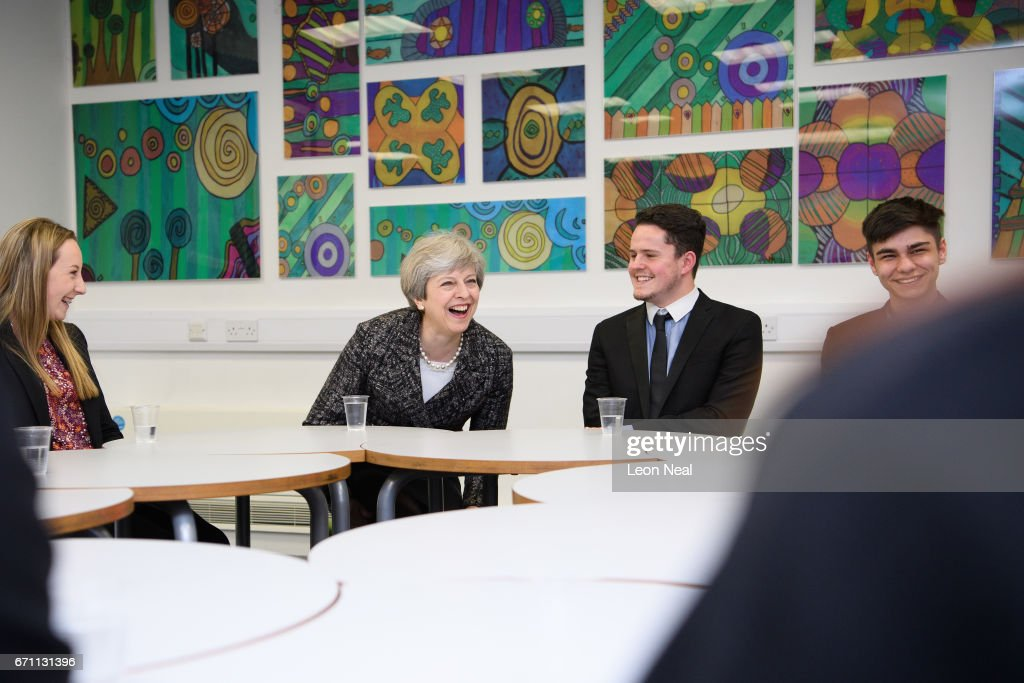 School Visit And Business Q&A With Theresa May On The Campaign Trail : News Photo