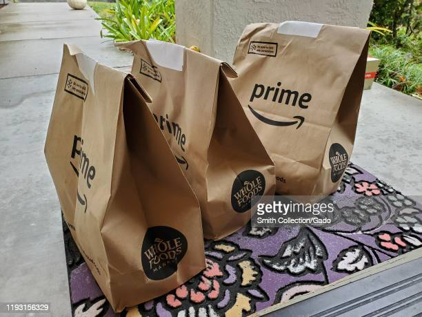Prime Now grocery delivery from Whole Foods Market, part of the Amazon Prime service following the upscale grocery chain's acquisition by Amazon.com,...