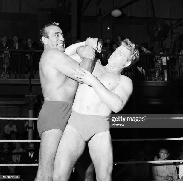 Primo Carnera actor and professional wrestler also a former professional boxer pictured filming scenes for new film A Kid for Two Farthings at...