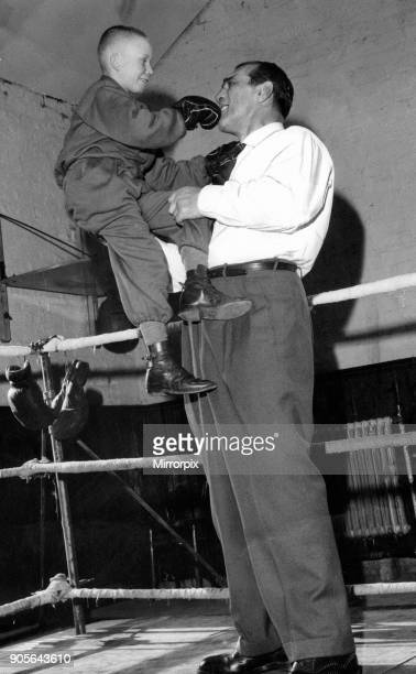 Primo Carnera professional wrestler also a former professional boxer at the opening of a new gymnasium owned by Les Caddick in Collyhurst Manchester...