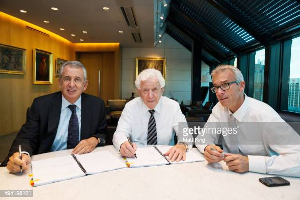 Primo Group CEO Paul Lederer, FFA Chairman Mr Frank Lowy AC and FFA CEO David Gallop are present during the signing of the transfer of licence...