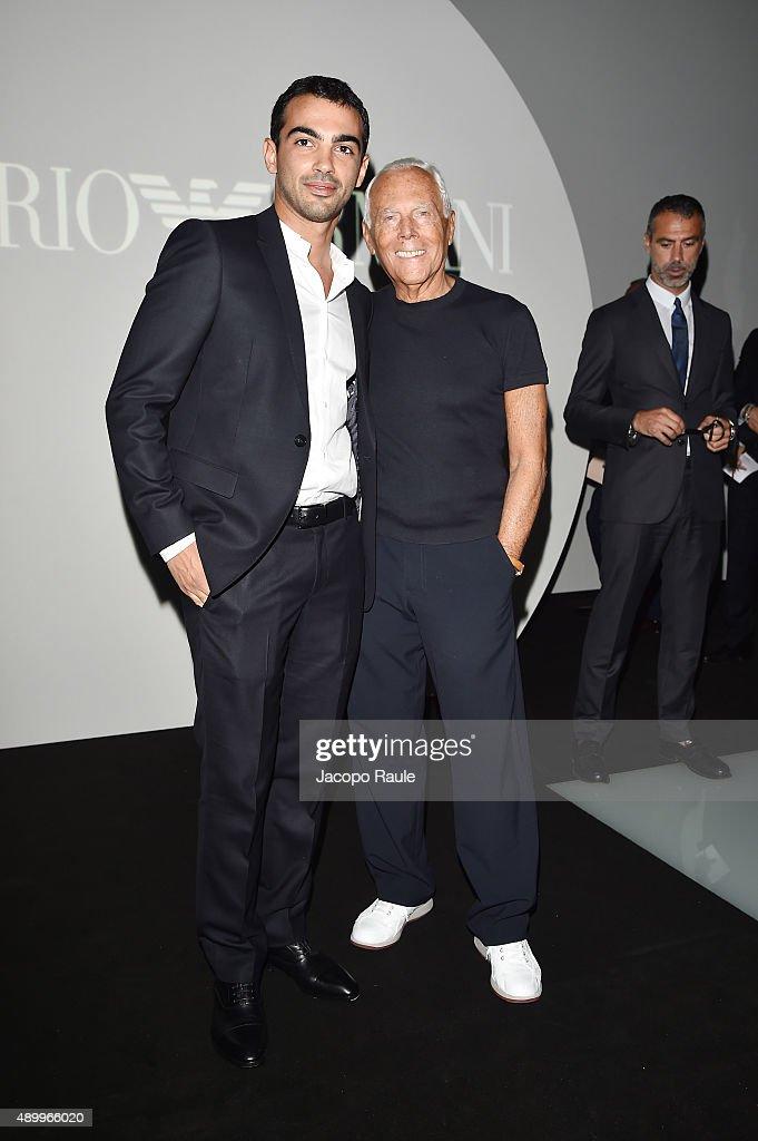 a1b02bca7bb Primo Reggiani and Giorgio Armani attend the Emporio Armani show ...