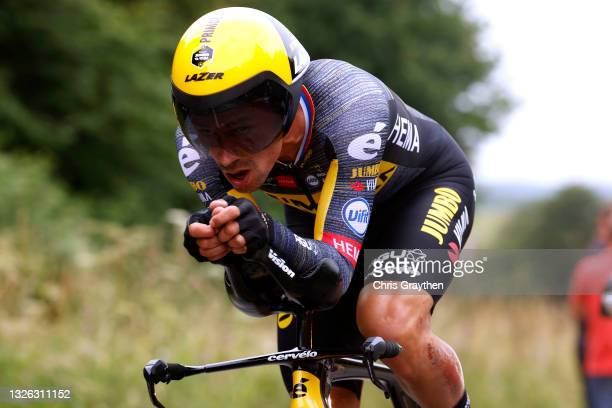 Primož Roglič of Slovenia and Team Jumbo-Visma during the 108th Tour de France 2021, Stage 5 a 27,2km Individual Time Trial stage from Changé to...