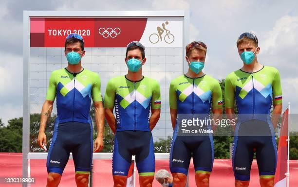 Primoz Roglic, Jan Polanc, Jan Tratnik & Tadej Pogacar of Team Slovenia prior to during the Men's road race on day one of the Tokyo 2020 Olympic...