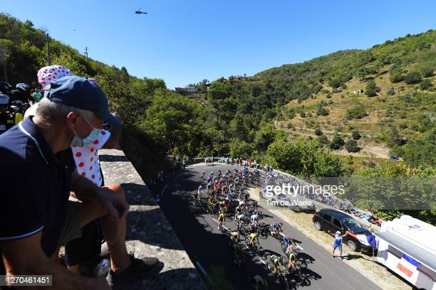 Primoz Roglic of Slovenia and Team Jumbo - Visma / Adam Yates of The United Kingdom and Team Mitchelton - Scott Yellow Leader Jersey / Peloton /...