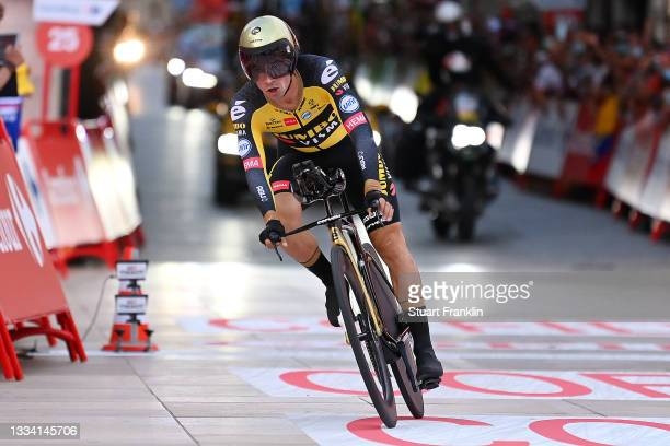 Primoz Roglic of Slovenia and Team Jumbo - Visma celebrates after winning the 76th Tour of Spain 2021, Stage 1 a 7,1km individual time trial from...
