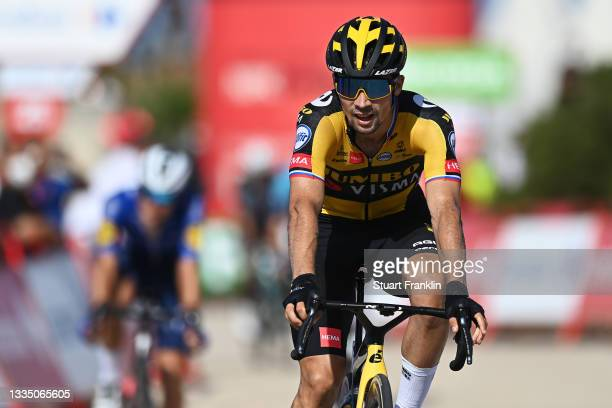 Primoz Roglic of Slovenia and Team Jumbo - Visma crosses the finishing line during the 76th Tour of Spain 2021, Stage 6 a 158,3km stage from Requena...