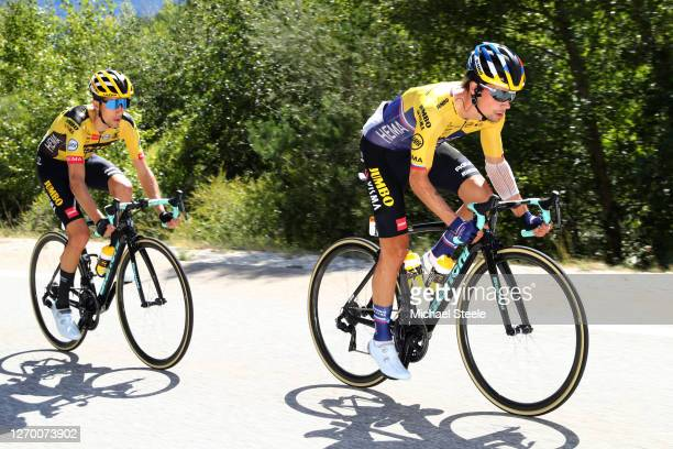 Primoz Roglic of Slovenia and Team Jumbo - Visma / George Bennett of New Zealand and Team Jumbo - Visma / during the 107th Tour de France 2020, Stage...