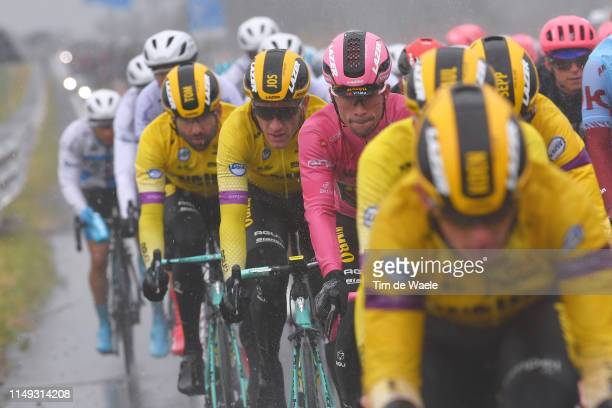 Primoz Roglic of Slovenia and Team Jumbo - Visma Pink Leader Jersey / Jos Van Emden of The Netherlands and Team Jumbo - Visma / Tom Leezer of The...