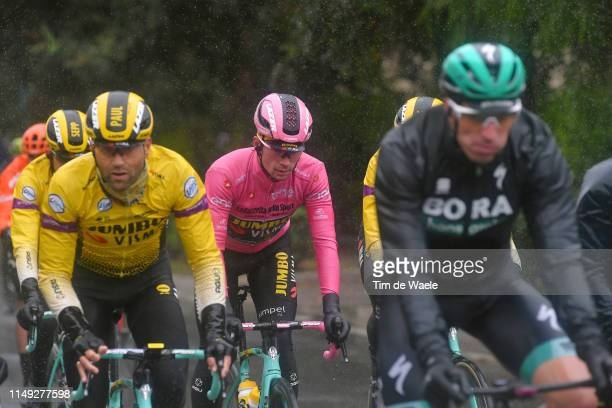 Primoz Roglic of Slovenia and Team Jumbo - Visma Pink Leader Jersey / Rain / during the 102nd Giro d'Italia 2019, Stage 5 a 140km stage from Frascati...