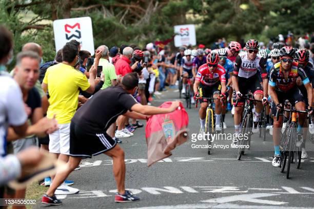Primoz Roglic of Slovenia and Team Jumbo - Visma red leader jersey, David De La Cruz Melgarejo of Spain and UAE Team Emirates and Mikel Landa Meana...