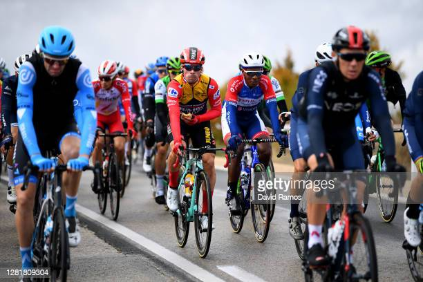 Primoz Roglic of Slovenia and Team Jumbo - Visma Red Leader Jersey / Lorrenzo Manzin of France and Team Total Direct Energie / during the 75th Tour...
