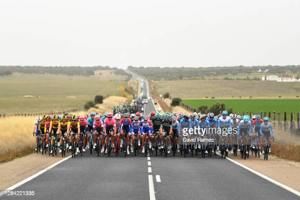 Primoz Roglic of Slovenia and Team Jumbo - Visma Red Leader Jersey / Lennard Hofstede of The Netherlands and Team Jumbo - Visma / Paul Martens of...