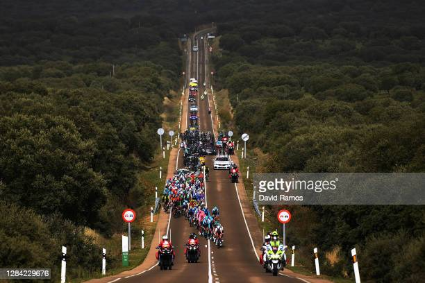 Primoz Roglic of Slovenia and Team Jumbo - Visma Red Leader Jersey / Richard Carapaz of Ecuador and Team INEOS - Grenadiers Green Points Jersey /...