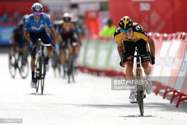 Primoz Roglic of Slovenia and Team Jumbo - Visma sprint at finish line to win the stage during the 76th Tour of Spain 2021, Stage 11 a 133,6km stage...