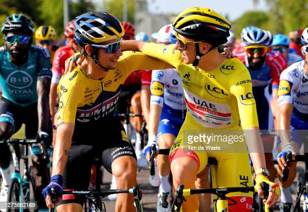 Primoz Roglic of Slovenia and Team Jumbo - Visma / Tadej Pogacar of Slovenia and UAE Team Emirates Yellow Leader Jersey / during the 107th Tour de...